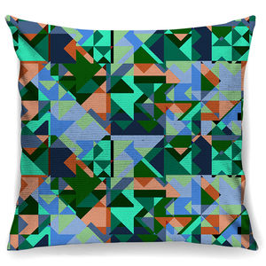 Fresh Geo Print Cotton Cushion + Waterproof