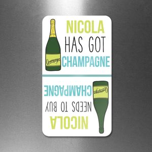 Personalised 'Got Champagne Need Champagne' Flip Magnet
