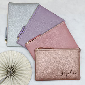 Personalised Luxury Pastel Leather Name Clutch Bag