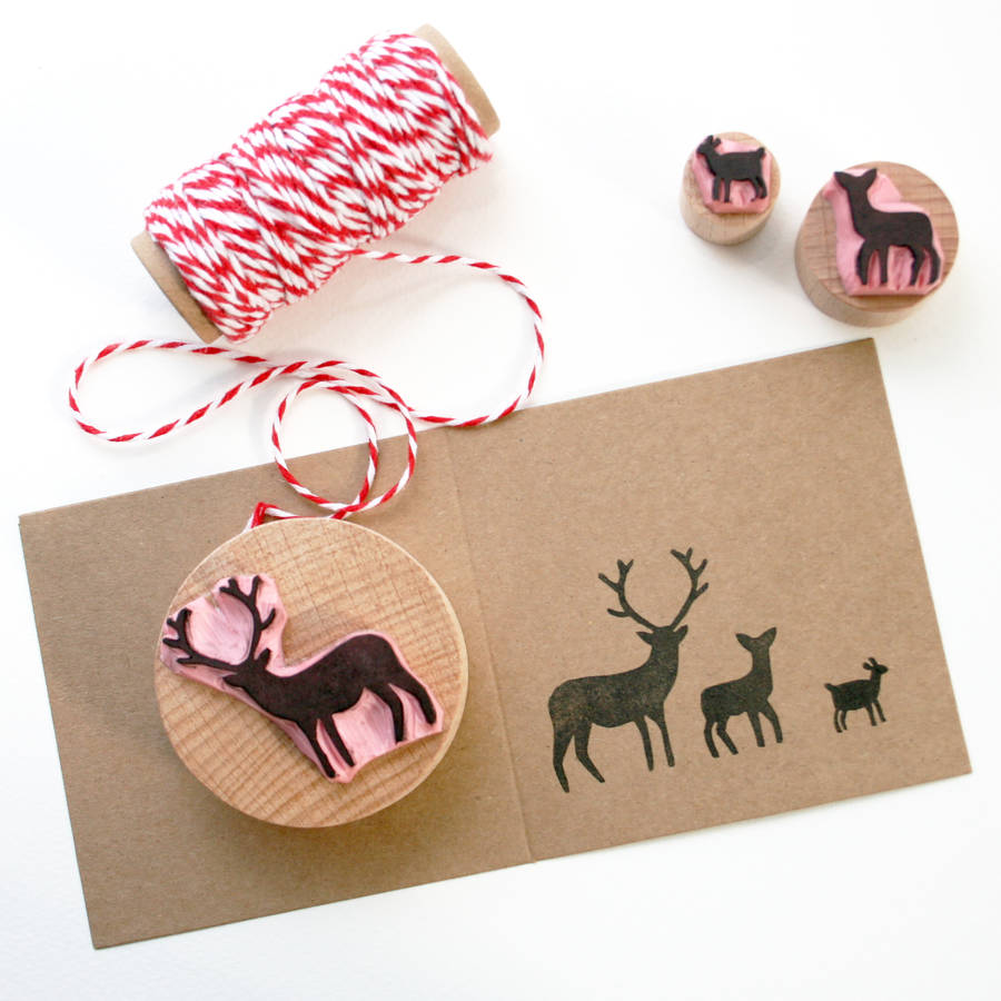 Stag And Family Hand Carved Rubber Stamps