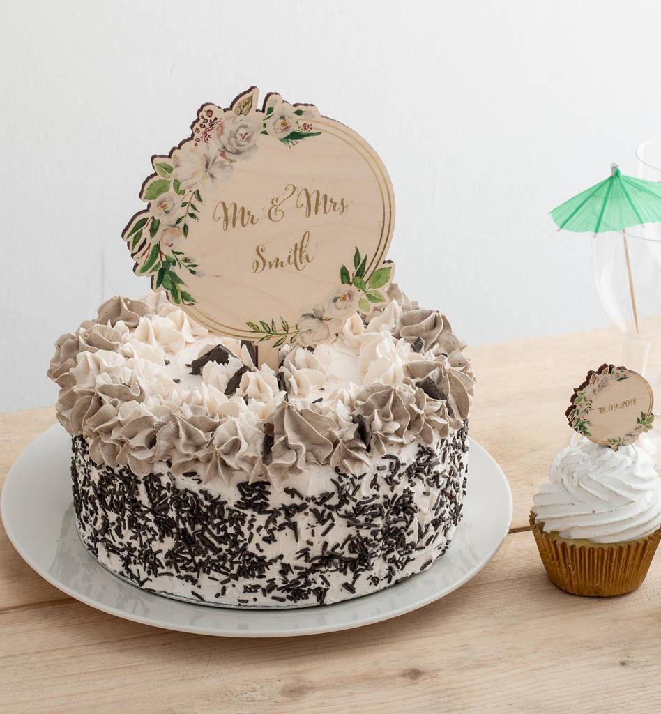 Personalised Wooden Wedding Floral Cake Topper