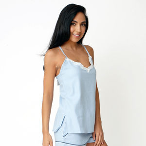 Blue Cotton Cami Top - lingerie & nightwear