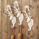 Set Of Three Potting Shed Stag Head Wall Hooks