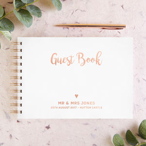 Rose Gold Foil Wedding Guest Book - albums & guest books