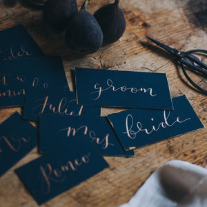 10 X Navy Place Cards Feat. Metallic Modern Calligraphy - new in