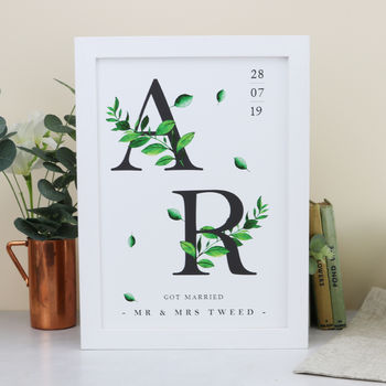 Botanical Initials Personalised Print