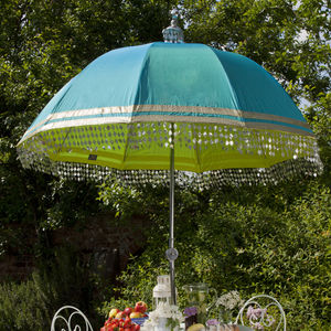 Indian Inspired Garden Parasol With Metallic Trim - garden parasols & umbrellas