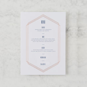 'Linked In Life' Geometric Rose Gold Foil Menu