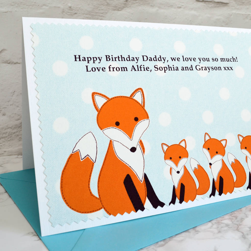 fox personalised birthday card from three children by jenny – Large Birthday Cards