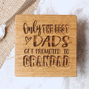 Personalised Oak Grandparent Coaster - best gifts for fathers