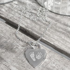 Personalised Heart Hand And Foot Print Necklace - necklaces & pendants