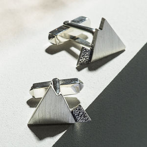 Handmade Sterling Silver Mountain Cufflinks - best gifts for fathers