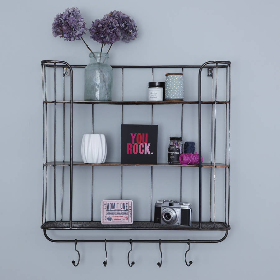 Three shelf metal wall rack by primrose plum - Wall metal shelf ...
