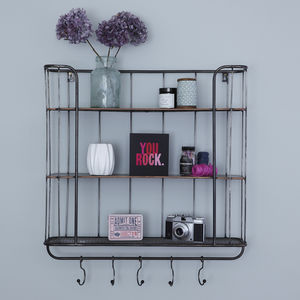Three Shelf Metal Wall Rack - bedroom