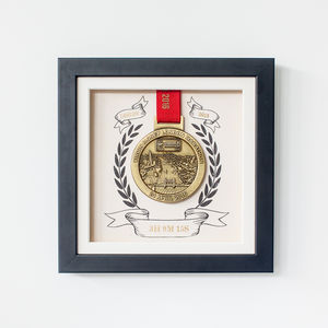 Personalised Marathon Medal Black Presentation Frame - activities & sports