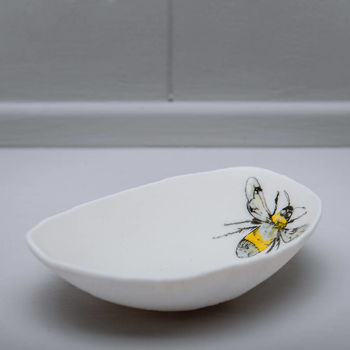 Bumble Bee Illustrated Porcelain Storage Bowl