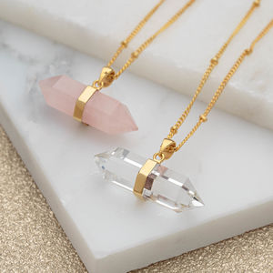 Horizontal Quartz Crystal Necklace - statement jewellery