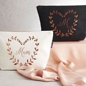 Personalised Metallic Leaf Design Make Up Bag - gifts for grandparents