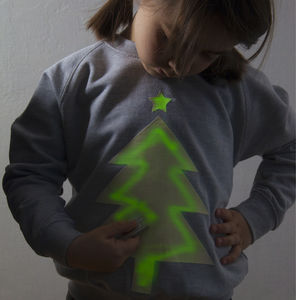 Xmas Tree Glow In The Dark Interactive Sweatshirt - new in christmas