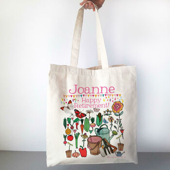 Personalised Happy Retirement Bag - in the garden design