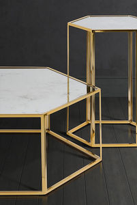 Brass And Antique Mirror Coffee And Side Table - furniture
