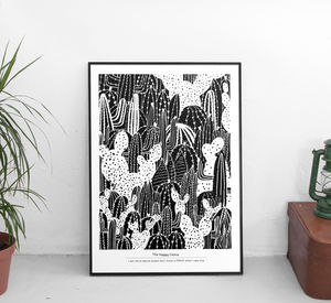 Monochrome Cactus Expert Art Print - shop by subject
