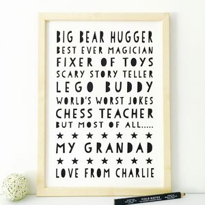 Personalised Things About Grandad Print / 17 Colours