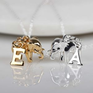 Elephant Necklace With Personalised Letter Charm - necklaces & pendants