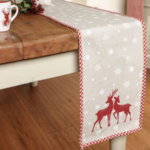 Cotton Reindeer Christmas Table Runner