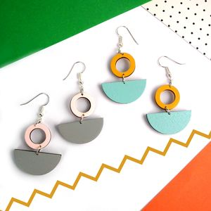 Lunar Geometric Wooden Statement Earrings - earrings