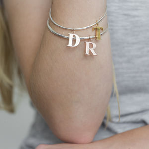 Personalised Initial Bangle - rose gold jewellery