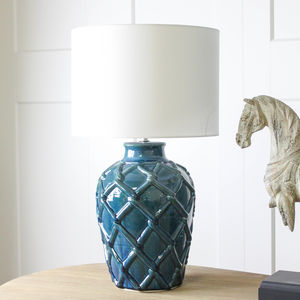 Blue Ceramic Textured Lamp - table lamps