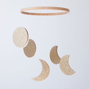 Phases Of The Moon Baby Mobile, Soft Gold