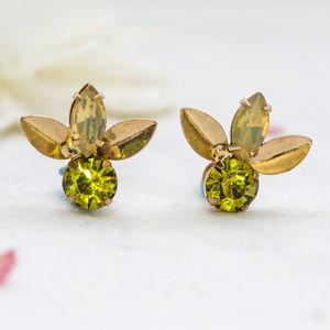 Green Laurel Leaf Earrings - statement jewellery