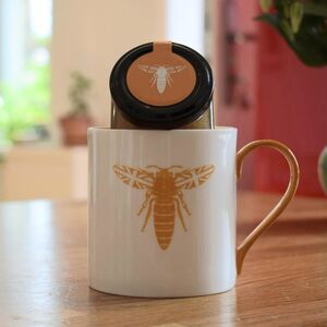 Orange British Bee Mug And Honey Gift Set