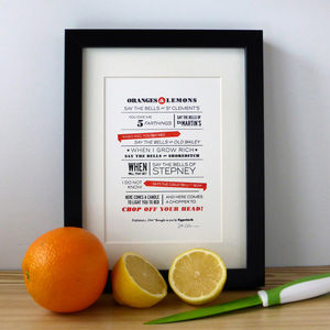 'Oranges And Lemons' Typographic Letterpress Print - literature