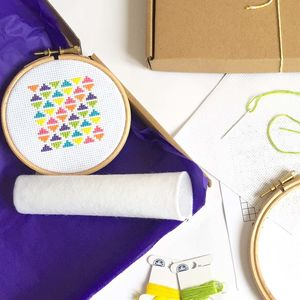 Geometric Rainbow Cross Stitch Kit - sewing & knitting