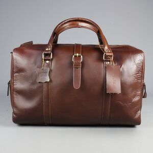 Personalised Leather Holdall In Burnt Umber