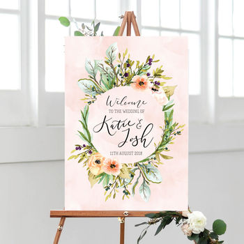 Personalised Welcome To Our Wedding Wildflower Sign