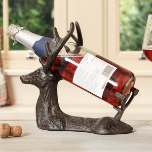 Cast Iron Stag Wine Bottle Holder