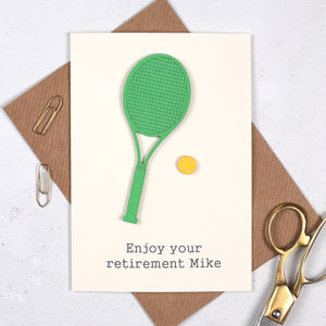 Personalised Tennis Retirement Sport Card