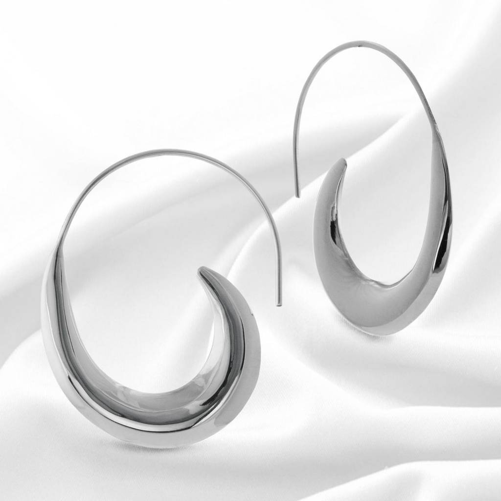 Large Sterling Silver Unusual Hoop Earrings