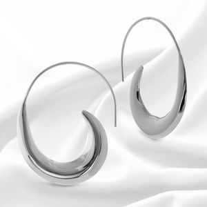 Large Sterling Silver Contemporary Hoop Earrings