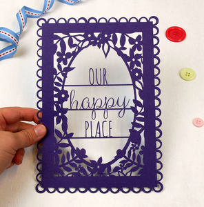 A5 Unframed Papercut 'Our Happy Place' - art