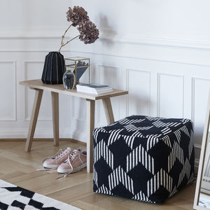 Square Cotton Pouf With Black And White Pattern - cushions