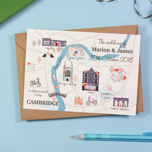 Illustrated Custom Map Wedding Invitation