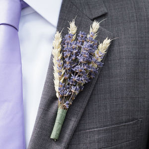Five Lavender And Wheat Buttonholes - fresh flowers