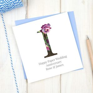 Personalised Paper 1st Wedding Anniversary Card