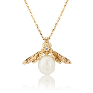 Yellow Gold Pearl Bee Pendant
