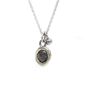 Rough Diamond Pendant Necklace In White Gold